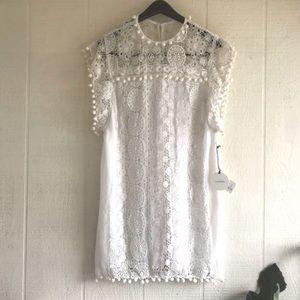 Tularosa Elba Pom Poms lace crochet dress